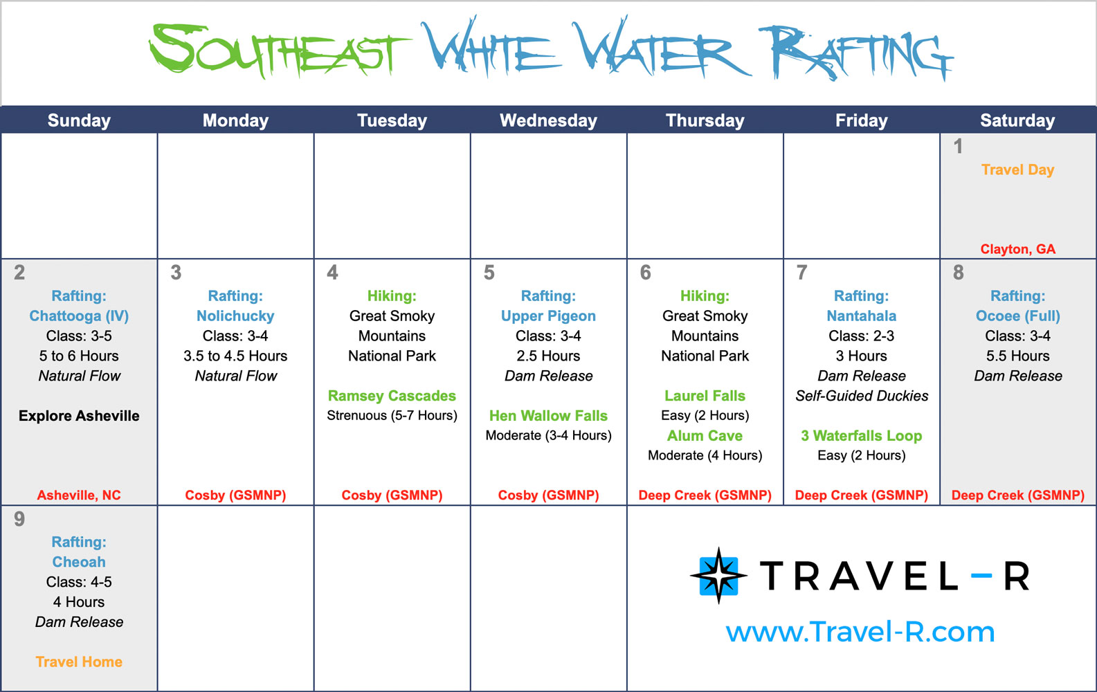 Southeast White Water Rafting 1-Week (9-Day) Itinerary