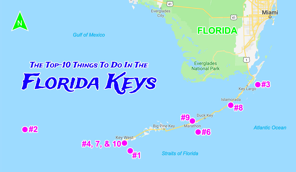 Map of The Best Things To Do In The Florida Keys